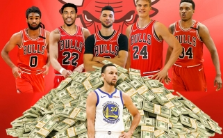 """S.Curry uždirba daugiau nei visi Karnišovo vadovaujamo """"Bulls"""" starto penketo žaidėjai"""