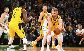 """D.Sabonis gerino asmeninius rekordus, tačiau """"Pacers"""" buvo sutriuškinti Bostone"""