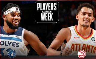 """Pirmosios NBA savaitės MVP - """"Hawks"""" įžaidėjas ir """"Timberwolves"""" centras"""