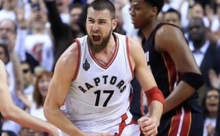 """Lemiamu metu """"Raptors"""" ant savo pečių tempęs J.Valančiūnas išlygino seriją"""