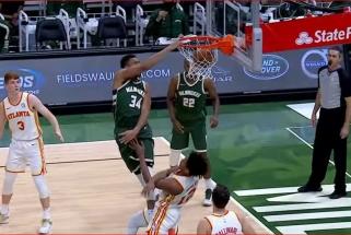 Giannio blokas bei dėjimas, pergalingas Haywardo metimas ir McGee reidas per visą aikštę - NBA Top 10 viršūnėje