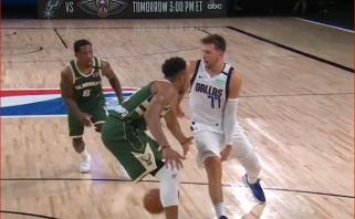 L.Dončičiaus perdavimas sau ir varžovui tarp kojų bei K.Porzingio dėjimas - gražiausi NBA momentai