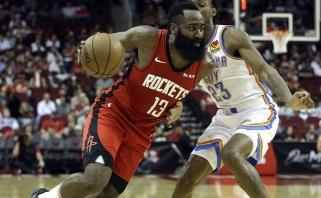 """J.Hardeno rezultatyviausias mačas, dramatiška """"Knicks"""" pergalė ir kitos NBA rungtynės"""
