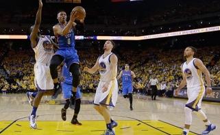 """R.Westbrookas lemiamu metu atliko """"mėnulio eiseną"""", o """"Thunder"""" patiesė """"Warriors"""""""