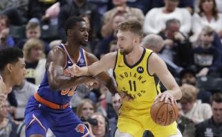 """Agresyviai rungtyniavęs Sabonis ir """"Pacers"""" palaužė autsaiderius """"Knicks"""""""