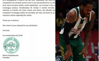 """""""Panathinaikos"""" išsiuntė oficialų prašymą pašalinti jų klubą iš Eurolygos"""