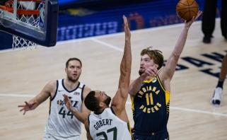 Sabonis akistatoje su NBA lyderiais buvo rezultatyvus, bet turėjo bėdų gynyboje