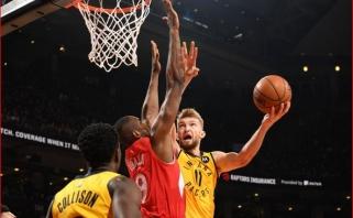 """Solidus D.Sabonio dvigubas dublis neišgelbėjo """"Pacers"""" nuo nesėkmės Toronte"""