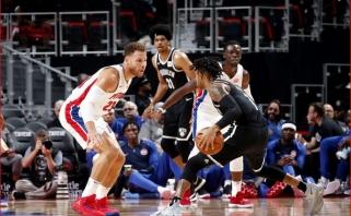 """NBA: Griffino sulaukę """"Pistons"""" neprilygo Russello vedamiems """"Nets"""" (rezultatai)"""