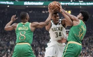 """Puikus K.Walkerio pasirodymas neišgelbėjo """"Celtics"""" mūšyje su lydere """"Bucks"""" (rezultatai)"""