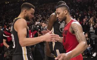NBA superžvaigždės Curry ir Lillardas susitarė mesti iš aikštės vidurio pirmajame sezono mače