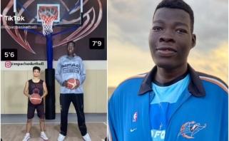 Gigantas iš Nigerijos kamuolį į krepšį deda net nepašokęs (3 VIDEO)