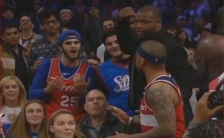 """""""Wizards"""" mažylis šoko į tribūnas aiškintis santykių su """"76ers"""" gerbėju"""