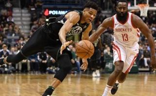 NBA žaidėjų apklausoje dėl MVP J.Hardenas aplenkė G.Antetokounmpo
