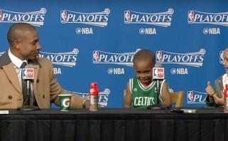 Nauja mada: NBA žaidėjų vaikų linksmybės spaudos konferencijose