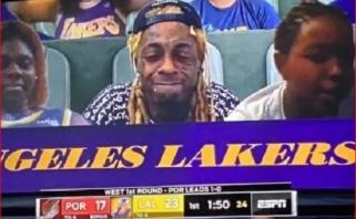 """Reperis Lil Wayne'as patraukė marihuanos būdamas virtualiu """"Lakers"""" rungtynių žiūrovu"""
