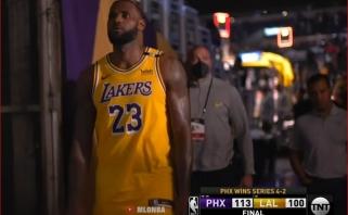 """LeBronas: """"Lakers"""" buvo visomis prasmemis išsekę po """"burbulo"""" ir trumpo tarpsezonio"""