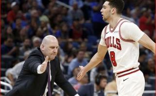 """""""Bulls"""" lyderis Z.LaVine'as apmokės jo treneriui skirtą baudą"""