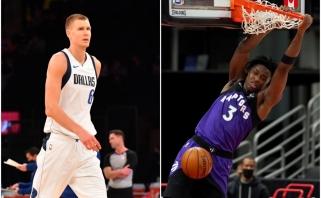 """NBA naktis: """"Knicks"""" sirgaliai įžeidinėjo Porzingį, """"Raptors"""" laimėjo pusšimčiu taškų (rezultatai)"""