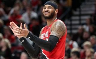 """Į Niujorką grįžęs C.Anthony pasiekė sezono rekordą, tačiau """"Blazers"""" buvos sutriuškinti (visi rezultatai)"""