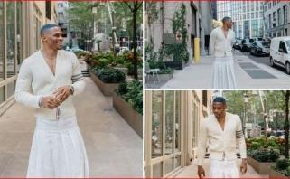 Westbrookas įkėlė savo nuotraukas gatvėje vilkint baltą sijoną