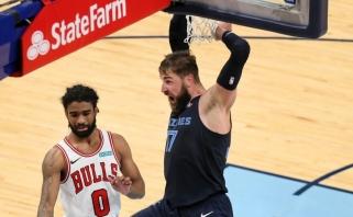 """Riaumojantis Valančiūnas ant savo kailio išnešė """"Grizzlies"""" į pergalę prieš """"Bulls"""" (rezultatai)"""